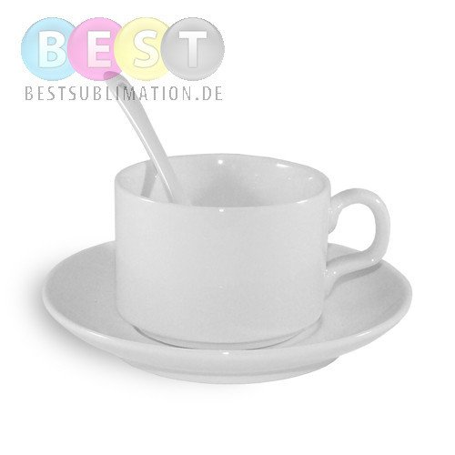 kaffeetasse mit untertasse und l ffel klasse a f r den sublimationsdruck. Black Bedroom Furniture Sets. Home Design Ideas